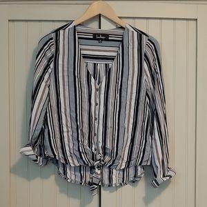 Lulu's Tie Front Blouse